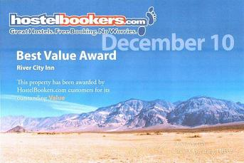 Hostel Bookers Best Value Award Dec 2010